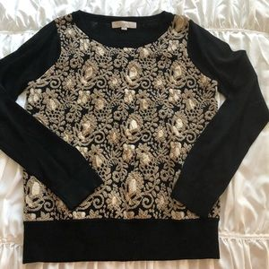 Loft gold embroidered top.